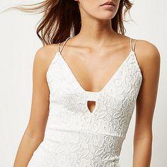 Cream lace bodycon dress