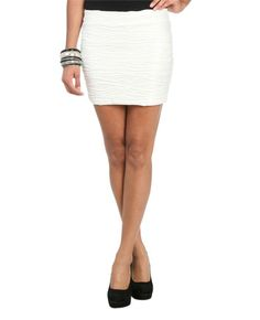 Coated Textured Bodycon Skirt - Bottoms