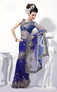 $75.42 Royal Blue Net Saree 14842 With Unstitched Blouse