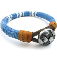 * Penny Deals * - KONOV Mens Womens Leather Rope Cord Bracelet, Unisex Cuff Bangle, Blue * Continue to the product at the image link.