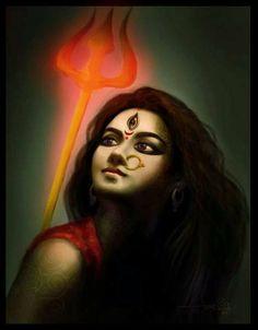 The triple-eyed goddess: Shakti/Devi/Durga -The Mother- Shiva Art, Shiva Shakti, Hindu Art, Durga Picture, Chakras, Durga Painting, Durga Maa Paintings, Indian Paintings, Durga Images
