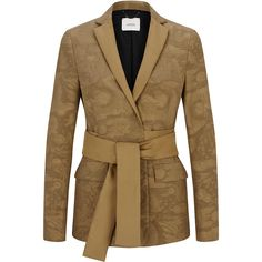 Dorothee Schumacher     Unexpected Grounds Blazer (21 125 UAH) ❤ liked on Polyvore featuring outerwear, jackets, blazers, metallic, metallic jacket, metallic blazer, brown blazer, wrap jacket and blazer jacket