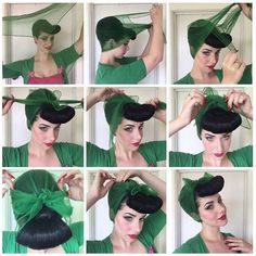 1940s Hairstyles, Scarf Hairstyles, Wedding Hairstyles, Updos Hairstyle, Easy Vintage Hairstyles, Curly Hair Styles, Natural Hair Styles, Retro Updo, Peinados Pin Up