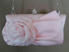 "CHARMING CHARLIE EVENING BAG NWT  Pink ""Chiffon Rosette"" w/Big Bow & Flower #CharmingCharlie #EveningBag $18.99"
