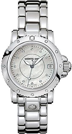 """Montblanc Sport Lady Quartz Watch 102362. - With Manufacturer Serial Numbers - White Mother of Pearl Diamond Dial - Diamonds Set on Bezel - Date Feature - Battery Operated Quartz Movement - Guaranteed Authentic - Certificate of Authenticity - Scratch Resistant Sapphire Crystal - Polished Steel Case & Bracelet - Manufacturer Box & Manual - 200 Meters / 660 Feet Water Resistant - 34.5mm = 1 1/3"""" Case, 6"""" Adjustable Bracelet - Fixed Bezel - Screw Down Crown & Caseback - Deployment Buckle -..."""