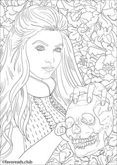 Lady with a Skull - FREE Beautiful Horror Coloring Page