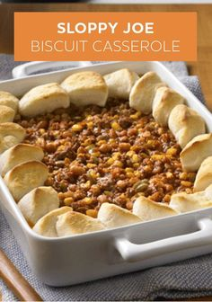 Sloppy Joe Biscuit Casserole is a family-friendly ground beef recipe that uses your favorite biscuit recipe as the crust!