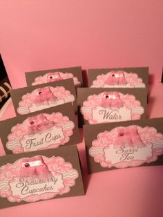 Tutu baby shower food tents. Pink and grey. Visit my Facebook page for more party supplies: partywithstaci.