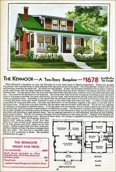 The Kenmoor Kit House Floor Plan made by the Aladdin Company in Bay City Michigan in 1931 Vintage