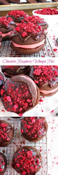 Chocolate Raspberry Whoopie Pies - Chocolate whoopie pies filled with raspberry buttercream and topped with silky chocolate ganache and raspberry sprinkles! | ButtercreamBlondie.com