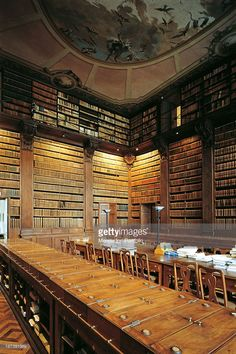 Italy, Piedmont, Turin, Palazzo dell'Accademia delle Scienze in Turin, The wing of the huge library equipped for the consultation of books,