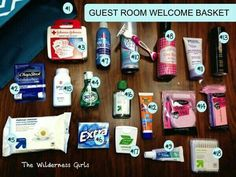 These items can work for a guest room welcome basket OR weekend getaway bag, gift basket for shelter (or care package for military or student. G;)