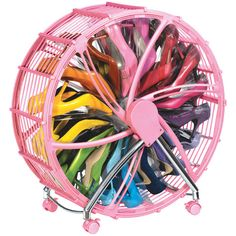 Shoe Wheel- looks like it could be easily made from the frame of a round fan.....just paint it pink & add clear shelving units : )