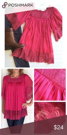 "Badgley Mischka Lace Tunic Badgley Mischka Lace Tunic | size S; poly/cotton trim | deep magenta tunic in layered gauze with ribbon accents | lace bodice & trim on bell sleeves and bottom hem | fully lined | a gorgeous top with jeans & boots! . EUC, no flaws  . 19"" UA to UA 31"" shoulder to hem Badgley Mischka Tops Tunics"
