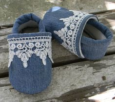 Dressy, baby shoes, denim, lace, baby slippers, baby shoes, baby booties, fall shoe, soft sole, up cycled, recycled, denim, fall, winter on Etsy, $17.50