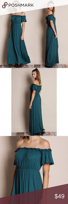 """Off Shoulder Maxi Dress Off shoulder maxi dress. Available in teal and olive. This listing is for the TEAL. This is an actual picture of the item - all photography done personally by me. Model is 5'8"""" 32C size 25 jeans. Brand new. True to size lots of stretch. NO TRADES. PRICE FIRM. Bare Anthology Dresses Maxi"""