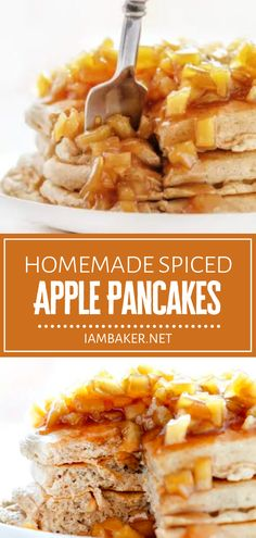 This fall menu idea is a hearty way to get you ready for the day! Warm up with a stack of Spiced Apple Pancakes. With the perfect blend of sweet and spice drizzled in a homemade apple topping, your family will be hopping out of bed for this warm and comforting breakfast! Breakfast Bread Recipes, Delicious Breakfast Recipes, Brunch Recipes, Appetizer Recipes, Blueberry Sweet Rolls, Apple Pancake Recipe, Awesome French Toast Recipe, Pecan Sticky Buns, Homemade Apple Pies