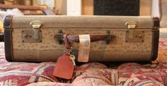Vintage suitcase Antique suitcase Leather by goodpennydesigns, $79.99