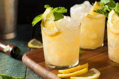 Homemade Boozy Bourbon Whiskey Smash with Lemon and Mint Stock Photo - 61158857 Good Whiskey Drinks, Whiskey Smash, Whiskey Cocktails, Bourbon Whiskey, Classic Cocktails, Vodka Drinks, Fun Drinks, Smash Recipe, Fruit In Season