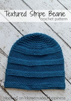Crochet Beanie Design Textured Stripe Beanie Crochet Pattern - The Textured Stripe Beanie Crochet Pattern has a subtle striping design that's created by using different stitches. Bonnet Crochet, Crochet Beanie Pattern, Crochet Cap, Tunisian Crochet, Crochet Stitches Patterns, Crochet Scarves, Free Crochet, Stitch Patterns, Crochet Dolls