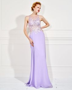 ELEONORE  Long evening dress with tulle on the bust and beading