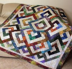 Batik Lap Quilt or Sofa Throw Green Brown by QuiltSewPieceful