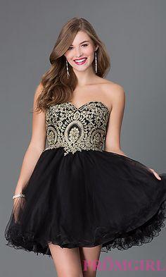 Short Strapless Sweetheart Babydoll Dress 9100 at PromGirl.com