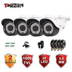 Special Offers - TMEZON 4 Pack 1/3 Cctv Security Camera 1000TVL 960H Day Night Vision Had IR-Cut Home Security Camera Indoor/Outdoor Weatherproof 36IR Infrared Lens Surveillance Camera Kits - In stock & Free Shipping. You can save more money! Check It (July 25 2016 at 10:12AM) >> http://wpcamera.net/tmezon-4-pack-13-cctv-security-camera-1000tvl-960h-day-night-vision-had-ir-cut-home-security-camera-indooroutdoor-weatherproof-36ir-infrared-lens-surveillance-camera-kits/