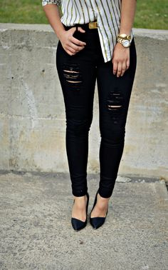 Mada from Made By Mada in the Search & Destroy Skinny Jeans #blackjeans || Get the jeans: http://www.nastygal.com/product/search-destroy-skinny-jeans?utm_source=pinterest&utm_medium=smm&utm_term=ngdib&utm_content=nasty_gals_do_it_better&utm_campaign=pinterest_nastygal