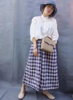 Casual Style Womans Little Plaid Pants Wholesale Comfortable Wide-Leg Pants    #blue #pants #wideleg #linen #flax #plaid #amazing #cozy #bottoms #wholesale #retail