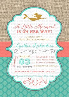 Thank you for shopping by! I am really excited to create with you. I am totally in love with the mermaid under the sea party theme. I love the soft deep colors and the fish scale patterns. This invite will make any event you are planning one to remember.  All the text on this card can be personalized to suit any event and most of the coloring is customizable, please ask before purchase about color changes.  You can purchase the digital file, and tackle printing on your own or I can take it…
