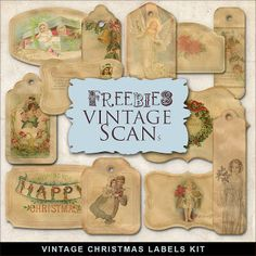 Christmas printables | Vintage Xmas Labels Kit. FarFarHill.