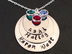 3 layered personalized hand stamped Mommy Mom by Ashijewelers