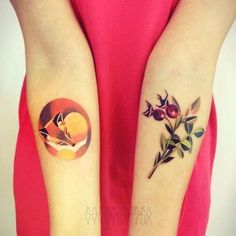 Fox and berry leaf tattoo -