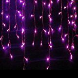 GOESWELL LED Christmas Lights 96LED 4M Icicles Lights Curtain Lights Purple Christmas Xmas Wedding Party Decorations christmas deals week