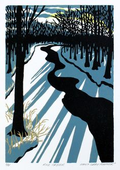 Rice Creek - Original Color-Reduction Woodcut. Emily Gray Koehler