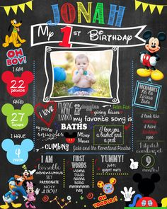 Mickey Mouse Clubhouse Chaklboard poster for Birthday or Photoshoot - PRINTABLE Poster Birthday Milestones on Etsy, $20.00