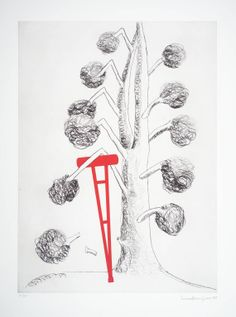 "Louise Bourgeois, 'Tree with Red Crutch' 1998, from ""Topiary: The Art of Improving Nature"", a suite of nine copperplate etchings with drypoint and aquatint (plate IX)"