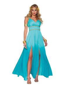 Look mighty fine in our Blue Aphrodite Costume! This elegant Aphrodite costume features a Greek inspired, floor length blue dress with empire waist and slits up each leg. Warrior Princess Costume, Princess Costumes, Halloween Fancy Dress, Halloween Costumes, Halloween Ideas, Spirit Halloween, Halloween Party, Party Costumes, Halloween Gifts