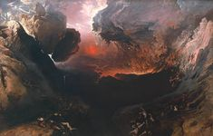 John Martin - The Great Day of His Wrath, 1851-3. Oil on canvas  From the Tate Gallery, London:    This is the third picture in Martin's great triptych, known as the Judgement Series. Along with the other two vast panels,The Last JudgementandThe Plains of Heaven(Tate T01927 and T01928), it was inspired by St John the Divine's fantastic account of the Last Judgement given inRevelation, the last book of the New Testament. Martin's aim in producing this series was highly Romant