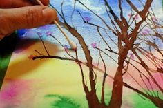 How to Paint Spring Trees (with tempera cakes, drinking straws and q-tips!)