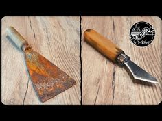 Old Putty Knife into Kiridashi Messer Diy, Vintage Scissors, Diy Knife, Homemade Weapons, Wood Carving Tools, Old Tools, Knife Sharpening, Custom Knives, Knives And Swords