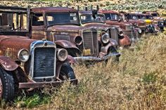 Truck graveyard in Grass Valley, Oregon Abandoned Cars, Abandoned Places, Abandoned Vehicles, Antique Trucks, Antique Cars, 1948 Ford Truck, Rust In Peace, Grass Valley, Rusty Cars