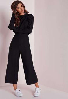 Perfect Work Outfits for Office Women Ideas Awesome Missguided Long Sleeve Ribbed Culotte Jumpsuit Black Mode Outfits, Office Outfits, Casual Outfits, Fashion Outfits, Womens Fashion, Winter Office Outfit, Sweater Outfits, Fashion Ideas, Fashion Trends