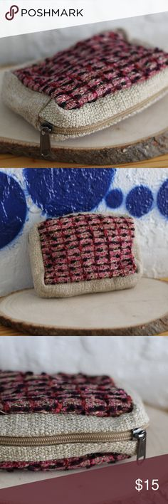 Hemp & Recycled Silk Pouch - Handmade in Nepal Eco-Friendly Handmade Cosmetic Pouch made from sustainably harvested hemp and recycled silk. Bags From Beyond Bags Cosmetic Bags & Cases