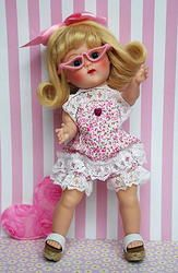 "Ruffles n' Lace..a too cute lace trimmed sunsuit with glasses for Vogue Ginny, Muffie, Ginger, or Madame Alexander 7.5"" DoLLs. Newly created and please check out all the pictures, she even has ruffles on her tushy! Too cute and ONLY ONE SET LEFT! at www.karmelapples.com Click the picture to take you to it."