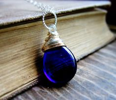 Cobalt Blue Necklace Czech Glass wire by thelittlehappygoose,