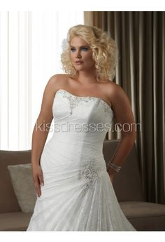 Gorgeous Organza Fabric Strapless Neckline Wedding Dress