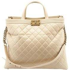 Pre-owned Chanel Le Boy Shopper Beige Quilted Calf Leather Tote
