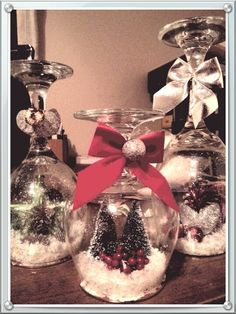 Wineglass Snowglobes  -- You can also put a candle on top!  Too Cute!